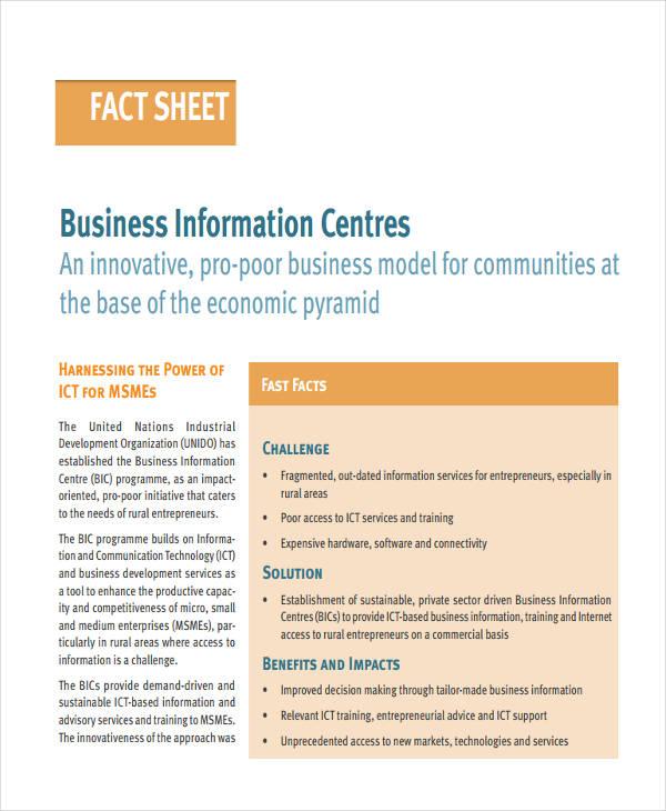 business information fact sheet