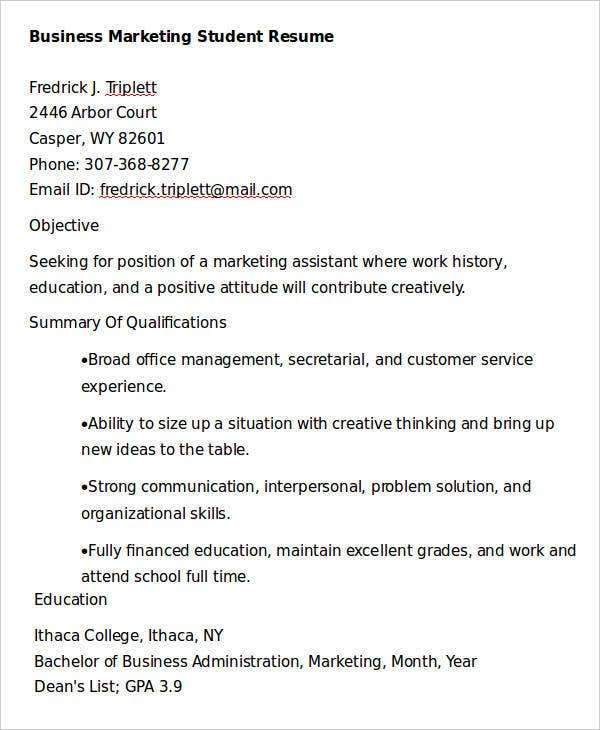 Business Marketing Student Resume