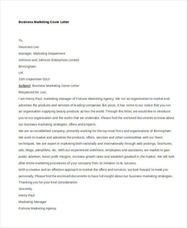 Business Marketing  Marketing Cover Letters