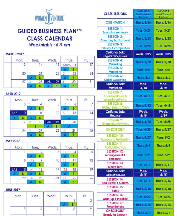 business plan calendar