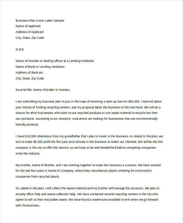 Business Cover Letter Free Word PDF Format Download Free - Business plan cover letter template