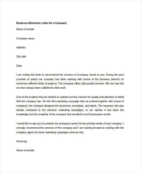 10 Sample Business Reference Letter Templates Pdf Doc Free