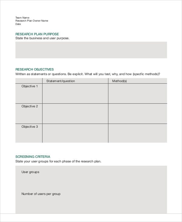 Research Plan Templates  Free Sample Example Format Download