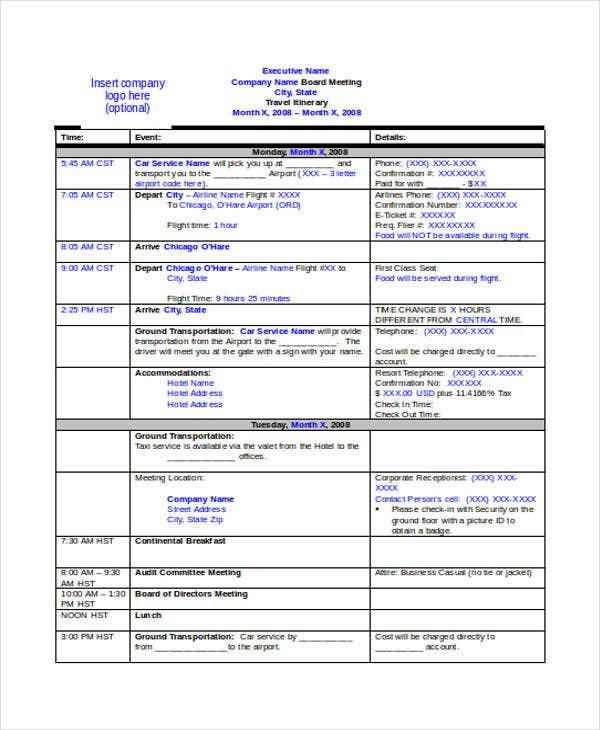 Itinerary Template Business Travel Itinerary Travel Itinerary