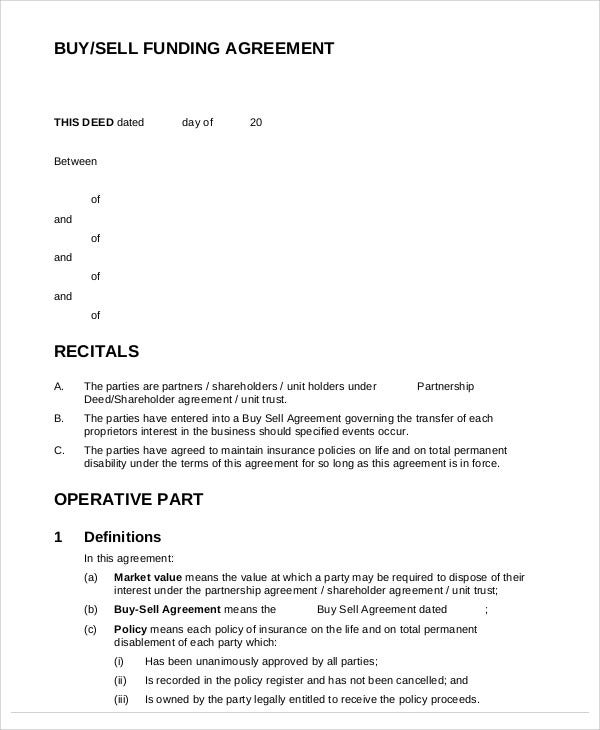 selling a business contract template - funding agreement template 9 free word pdf format