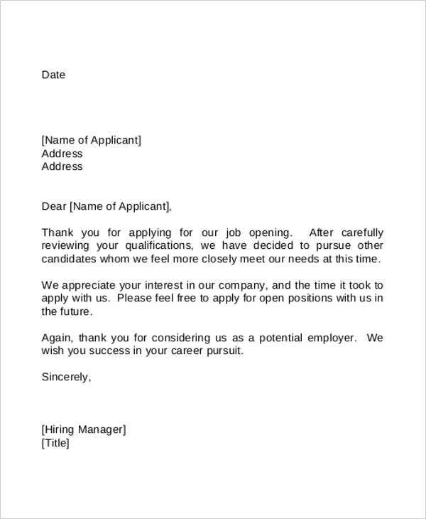 Letter Of Employment Rejection