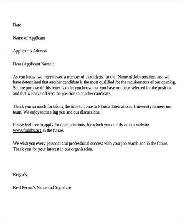 candidate rejection letter