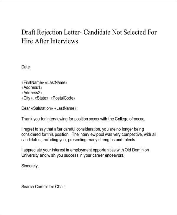 9 rejection thank you letter free sample example format download candidate rejection expocarfo Image collections