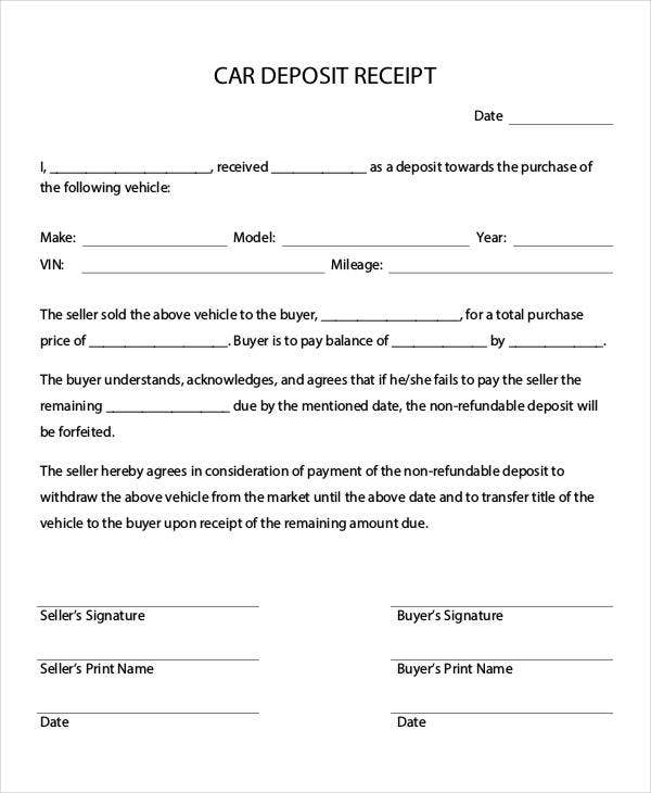 car deposit in pdf