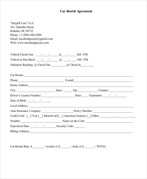 Weekly Rental Agreement Template