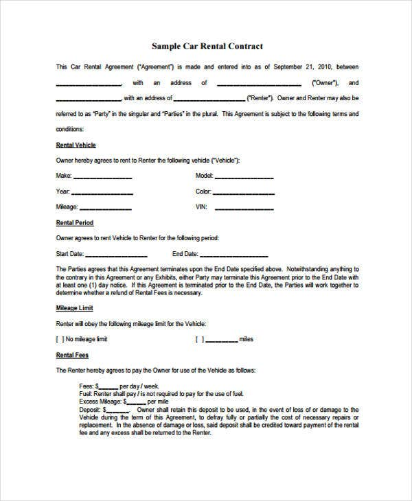 car rental contract template