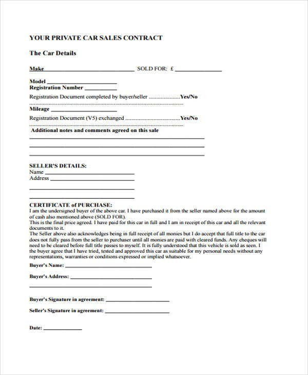 Sale Contract Templates  Free Sample Example Format Download