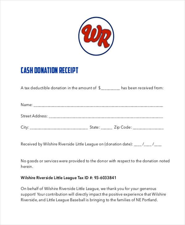 cash donation receipt