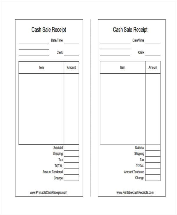 20 Printable Receipt Templates – Cash Sale Receipt