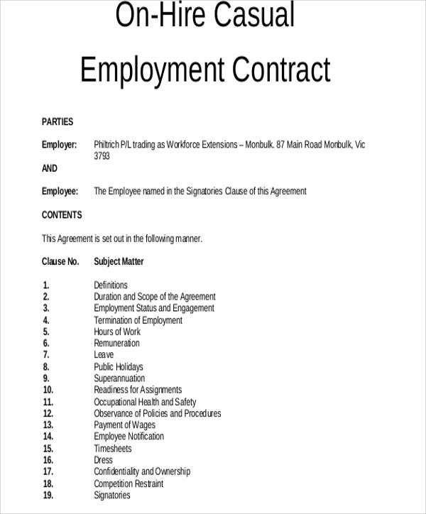 Employment Agreements Document Templates | LawLive Casual Employment  Agreement  Employment Contract Free Template