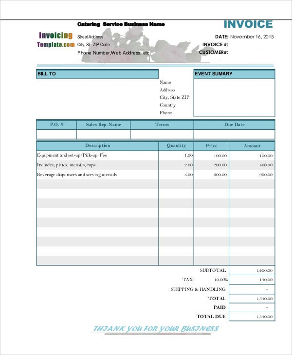 Catering Invoice Templates  Free Sample Example Format Download