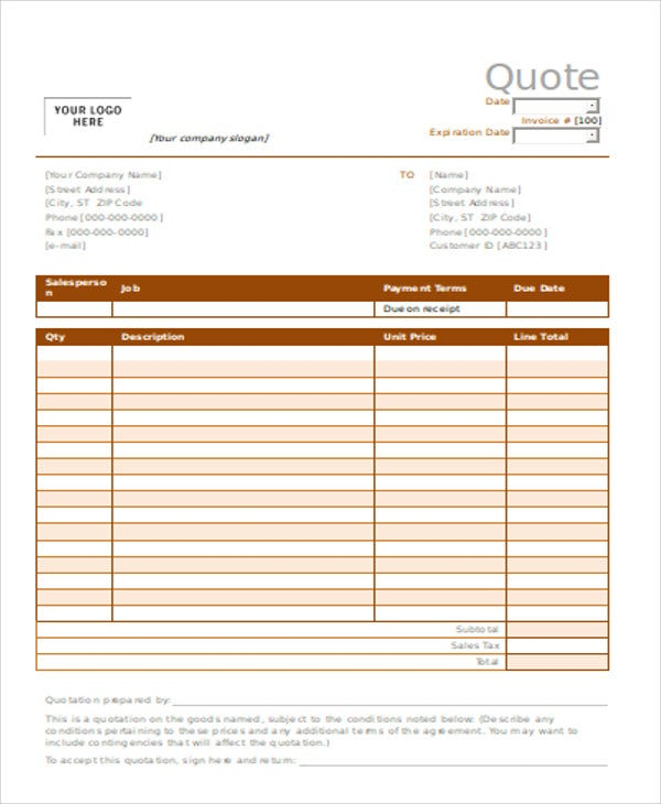 8 Catering Quotation Templates Word PDF – Catering Quote Template
