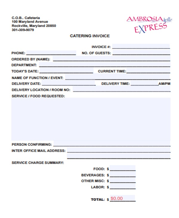 6 catering receipt templates free sample example for Catering email template
