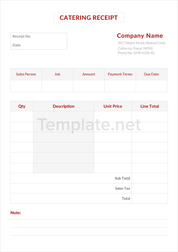 Catering Receipt Templates