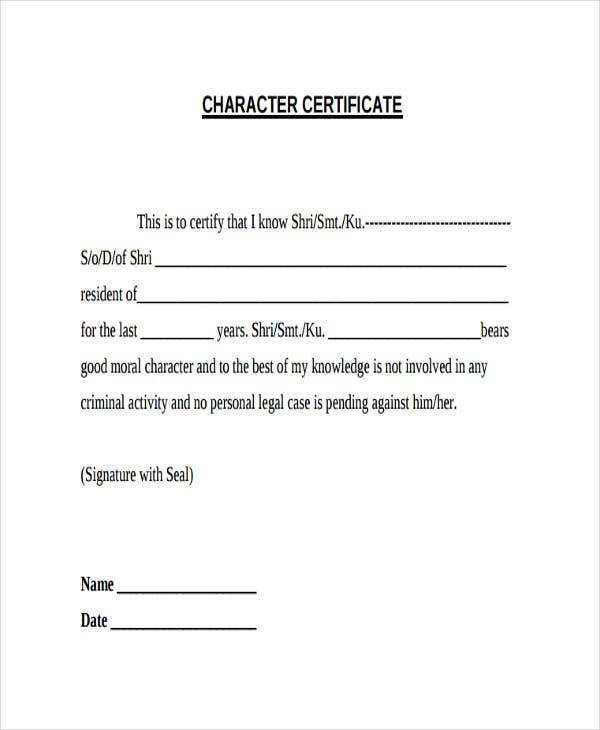 certificate of good moral character template 24 certificate samples free premium templates