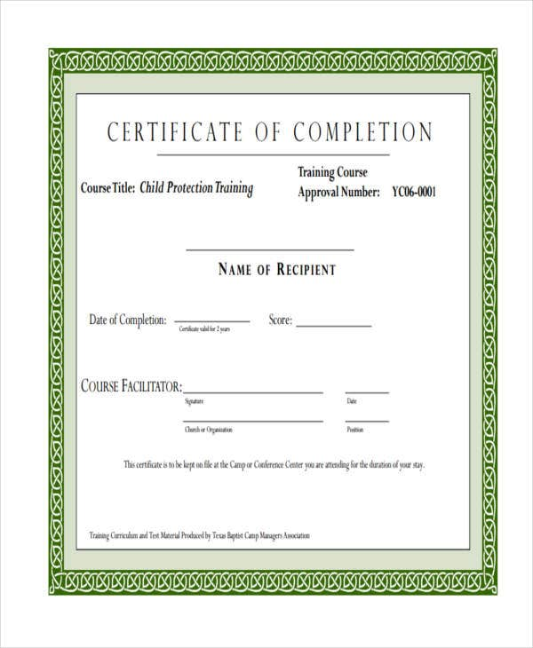 certificate for child care training