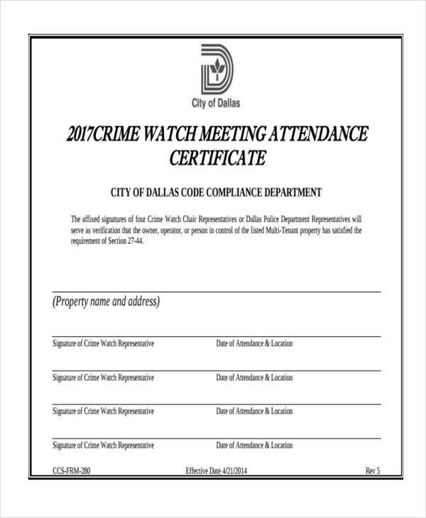 certificate for meeting attendance