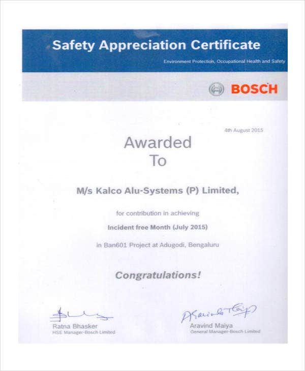 certificate for safety appreciation