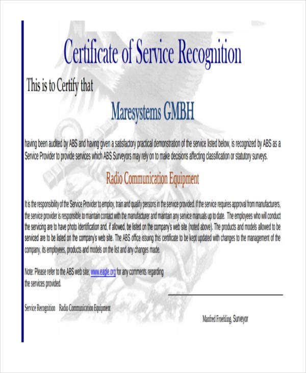certificate for service recognition