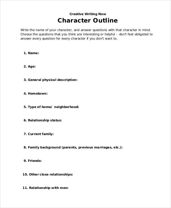 character worksheet outline