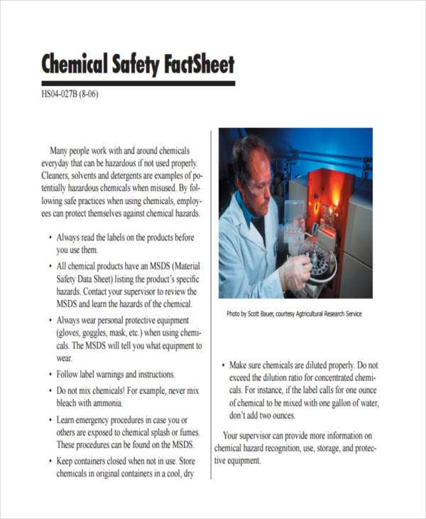 chemical safety fact sheet