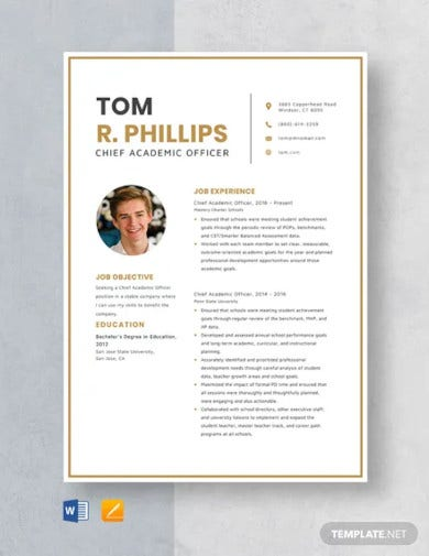 chief academic officer resume template