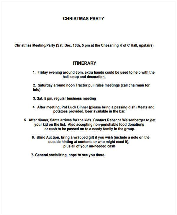 9 party itinerary templates free sample example format download
