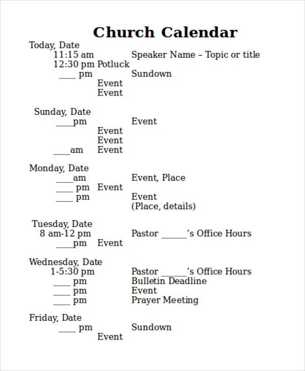 church calendar1