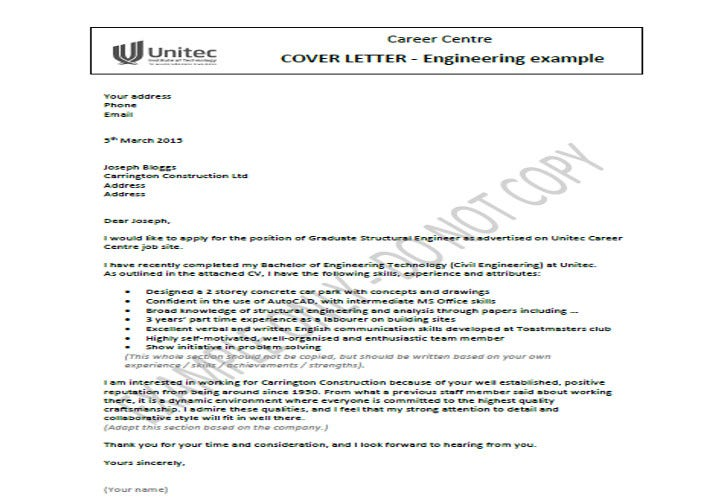 civil engineer job application letter