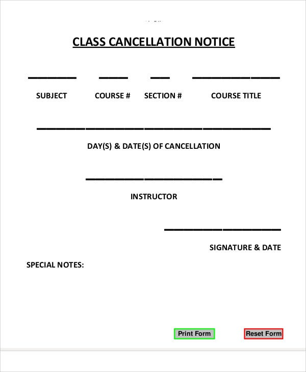 Cancellation Notice Templates   Free Word Pdf Format Download