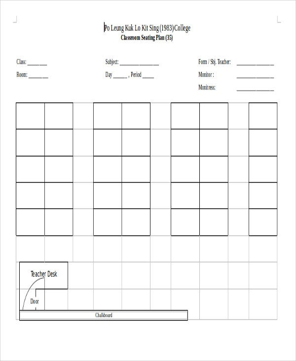 classroom seating template