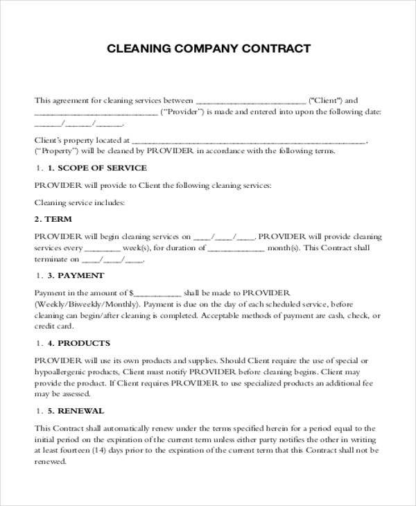 7 Company Contract Templates Sample Examples – Cleaning Contract Template
