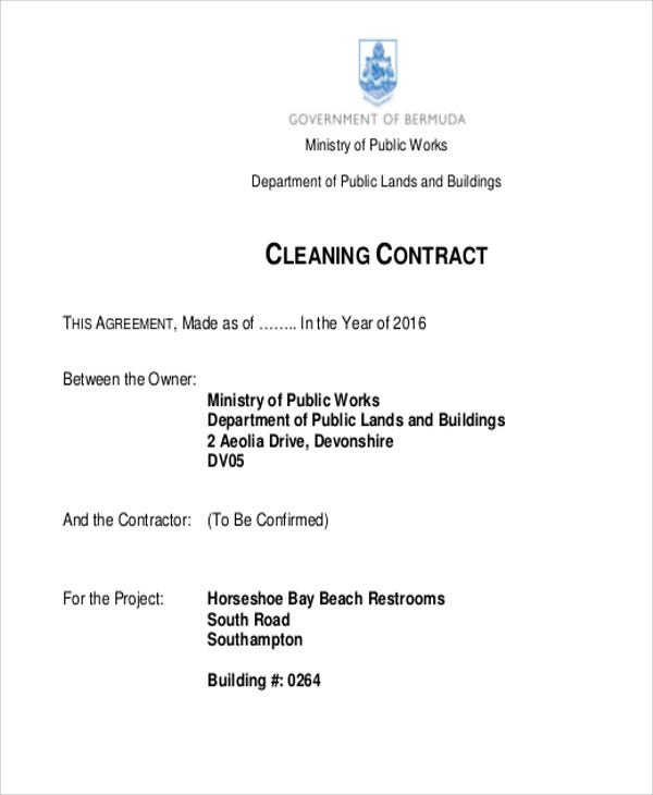 Cleaning Contract Templates  Free Samples Examples Format