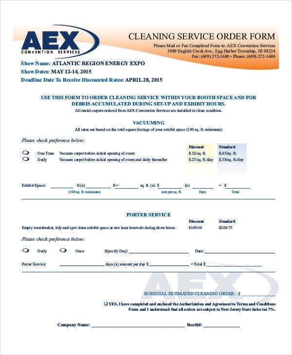 cleaning service order template