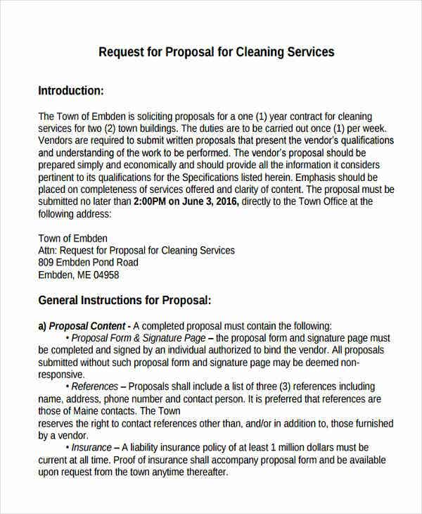 request for proposal for cleaning service in pdf