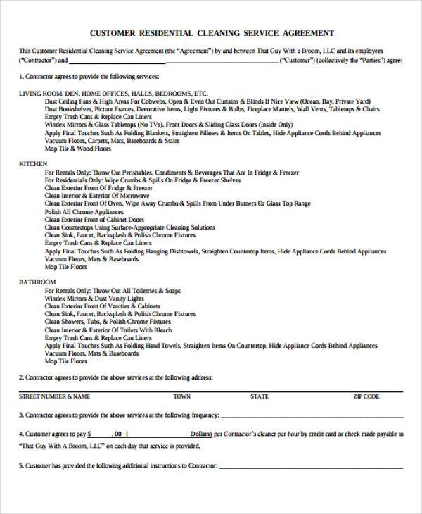 Cleaning Service Agreement Templates Tikiritschule Pegasus