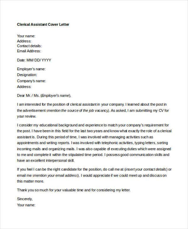 10+ Clerical Cover Letter Templates - Free Sample, Example Format ...