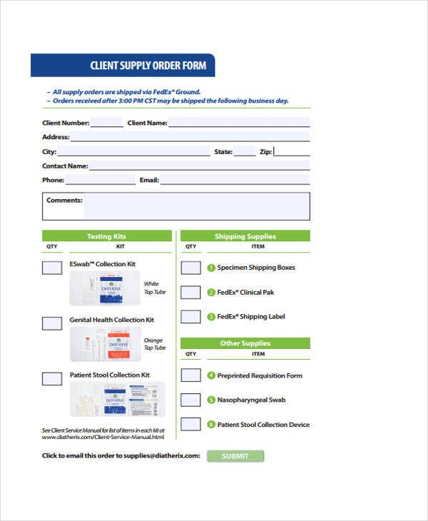 10 supply order templates free sample example format download