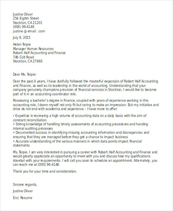 accounting co ordinator cover letter - Accounting Cover Letter