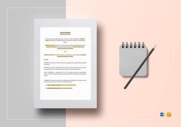 coaching contract template in word