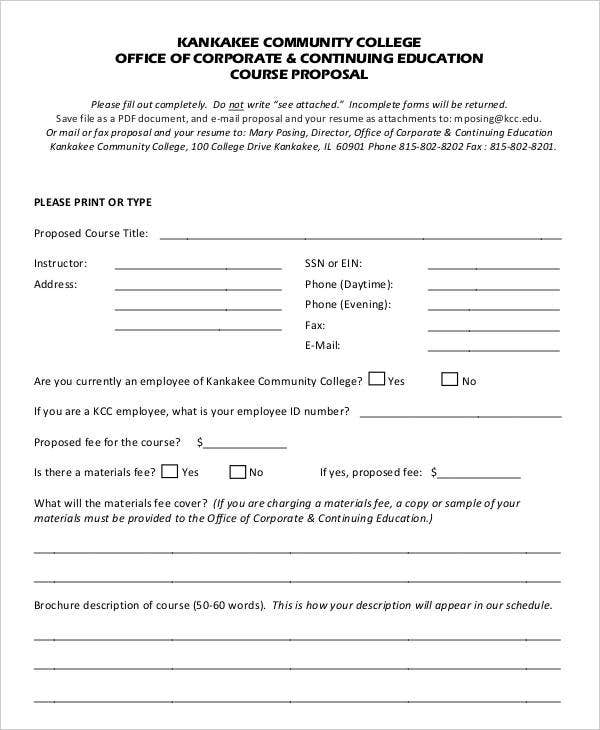 college proposal