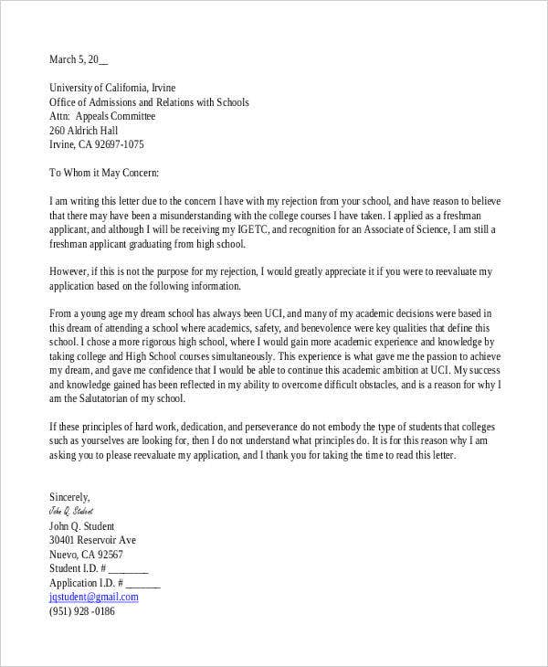 college rejection appeal letter
