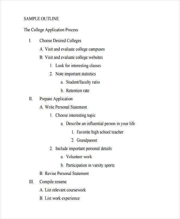 college sample outline