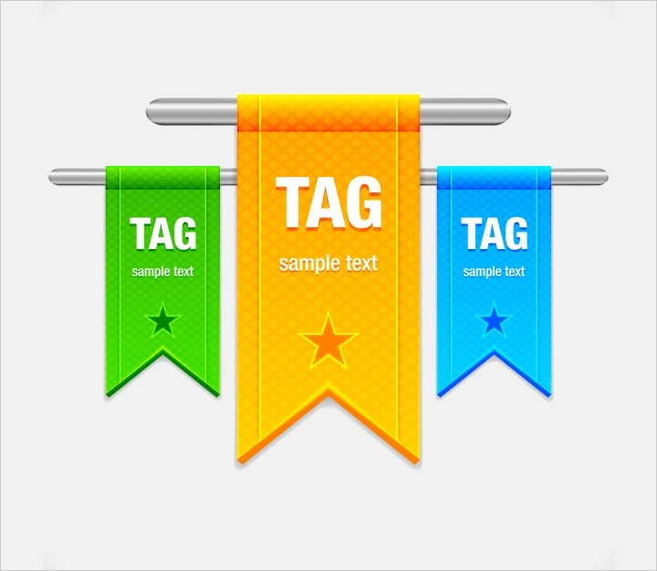 colorful ribbon tag