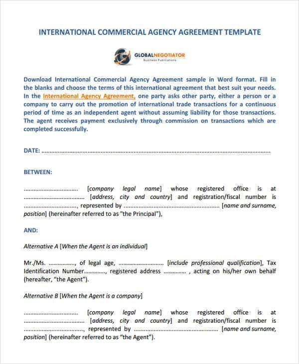 Agency Agreement Templates   Free Word Pdf Format Download